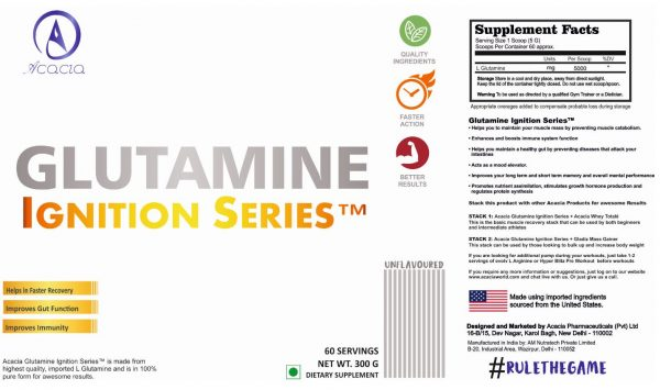 Acacia Glutamine Ignition Series™ 300 grams supplement facts