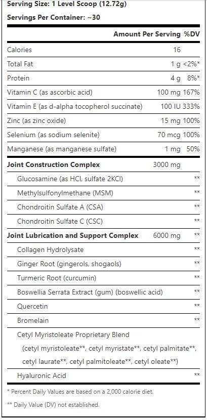 Animal Flex 30 Serv Powder orange supplement facts