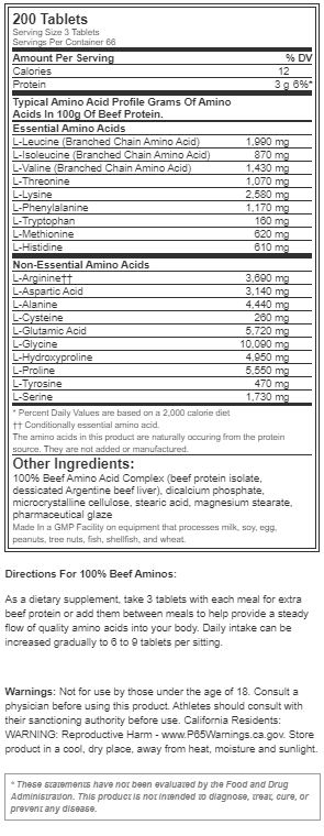 Beef Aminos Supplement Facts on Acacia World